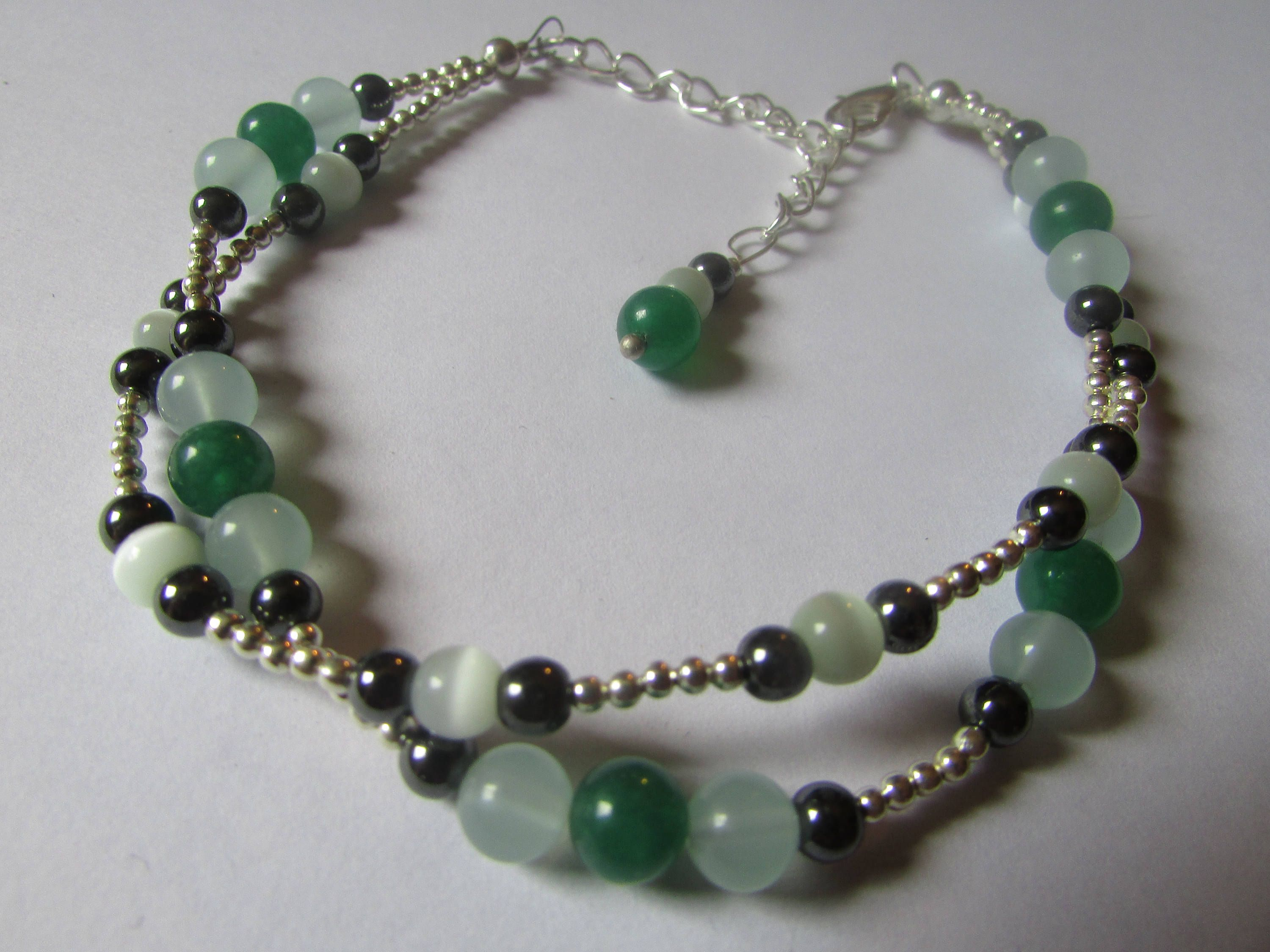 gold back products silver onyx beaded necklace plated aquamarine green anklet corpus and drops