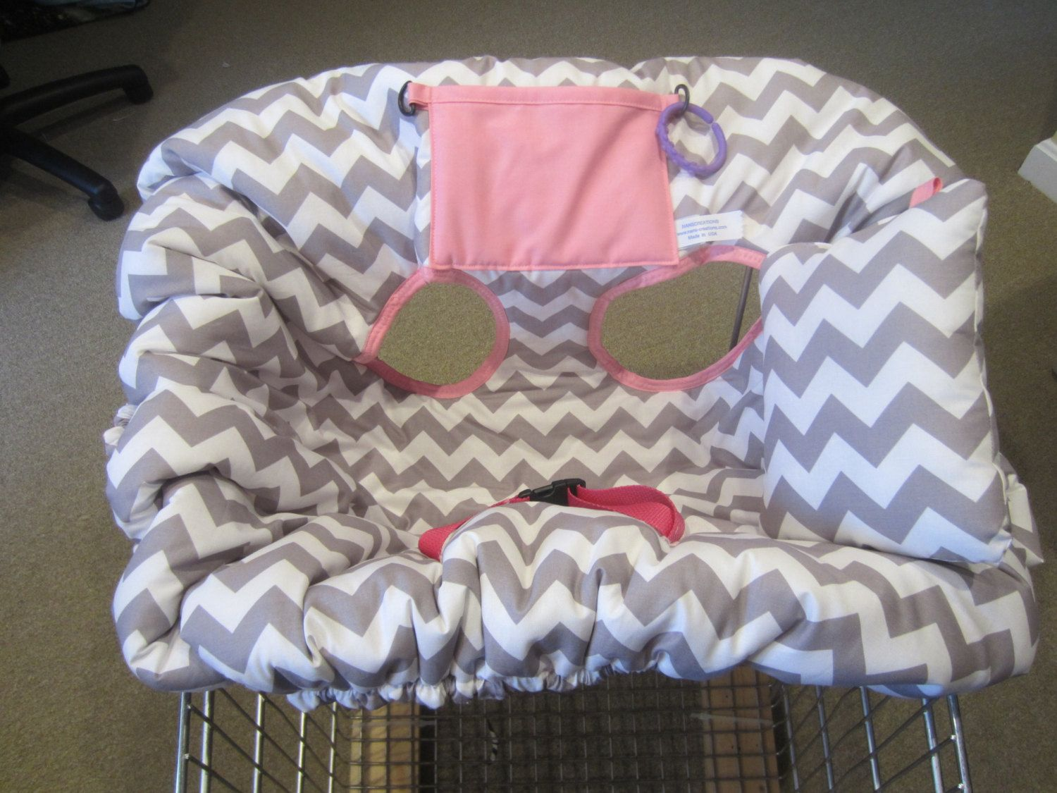 Gray Chevron Print With Med Pink Shopping Cart Cover And