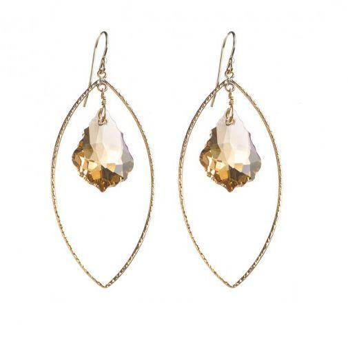 SBG Designs - Goddess Marquee Pendant Earrings - Light Topaz Brocade/Gold