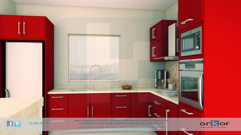 cocina roja mobiliario comercial Pinterest