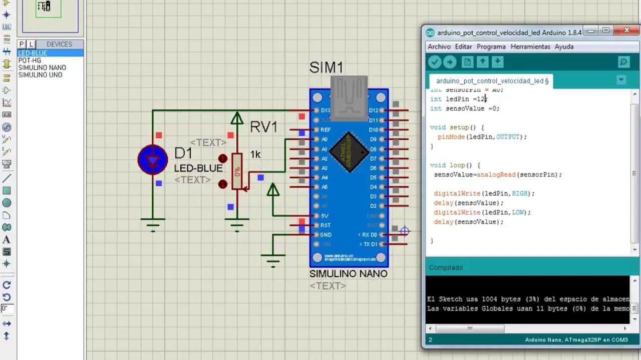 Arduino Basico 01 Control De Velocidad Led Con Potenciometro Circuito Basado Probador Transistores Sistema Electronico