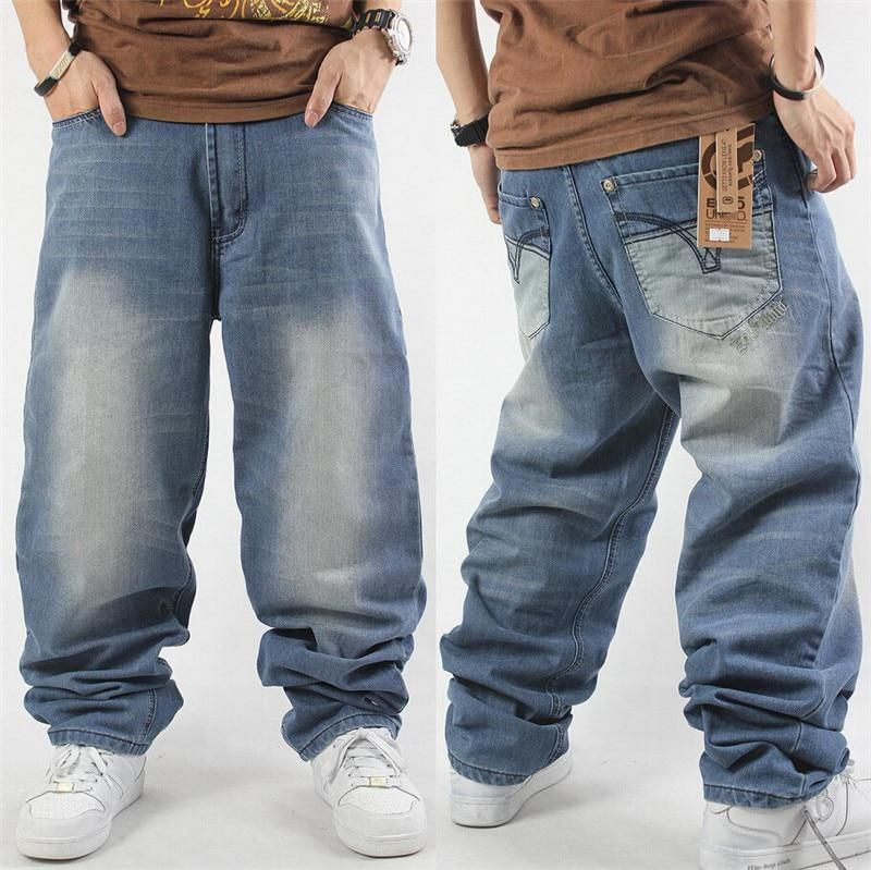 bcf40e7aee3 Man loose jeans hiphop skateboard jeans baggy pants denim pants hip hop men
