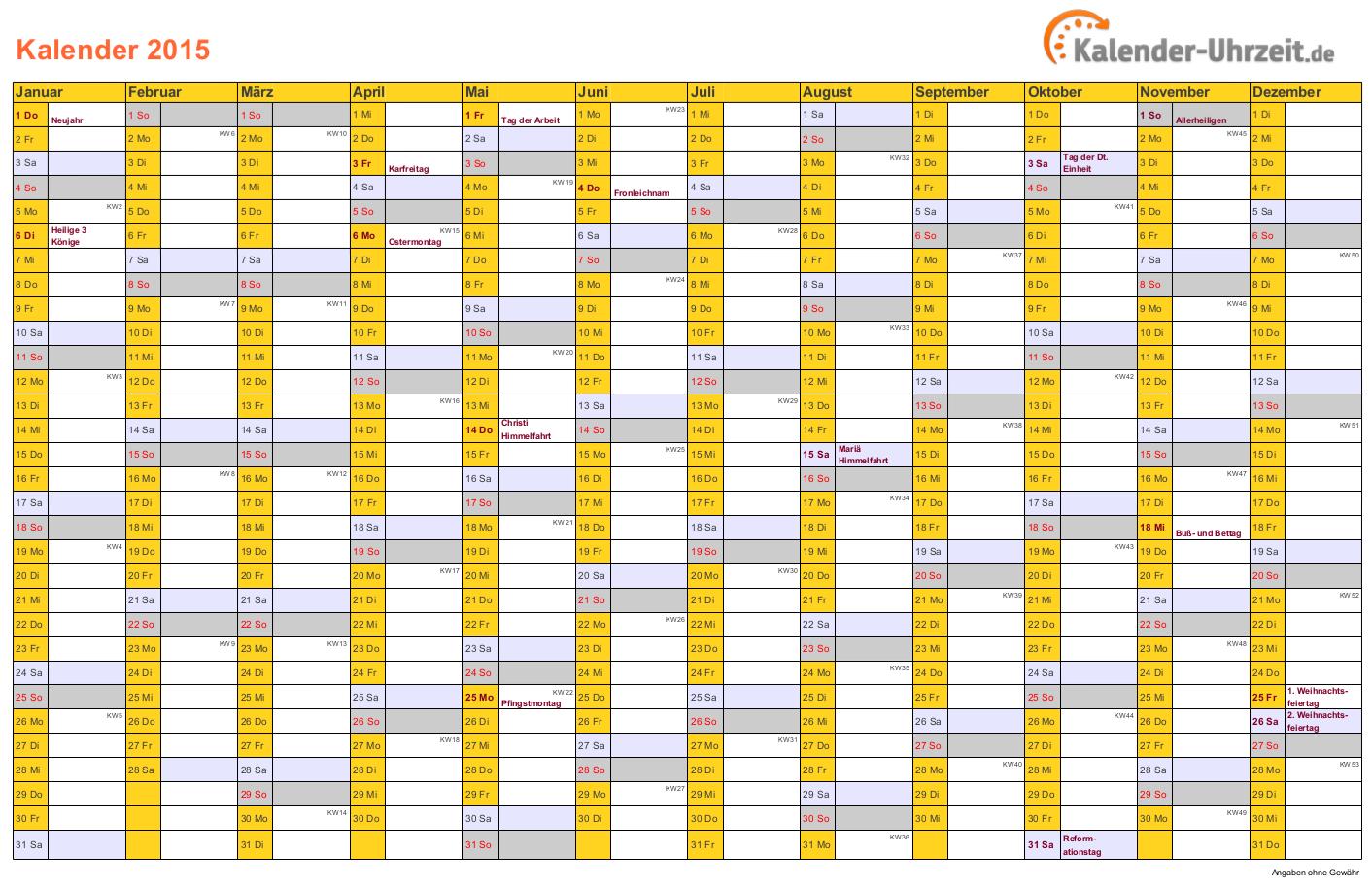 Kalender 2015 in ORANGE - A4, Querformat, EINSEITIG #KalUhr
