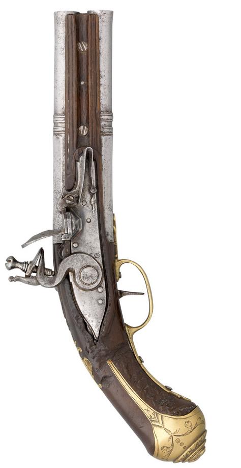 An Italian Over And Under Double Barrel Flintlock Pistol Mid 18th Century Black Powder Guns Flintlock Pistol Antique Guns
