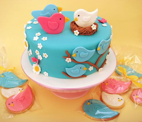 baby shower theme with birds baby as a surprise so the white