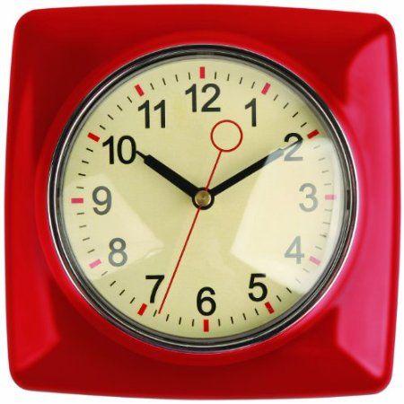 Kikkerland Retro Kitchen Wall Clock Red Furniture Decor