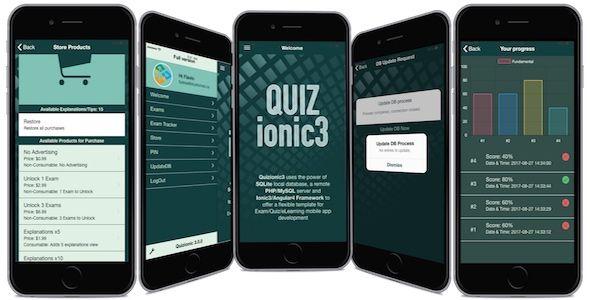 Quizionic3 - Android/iOS Quiz App Template w/local SQLite DB