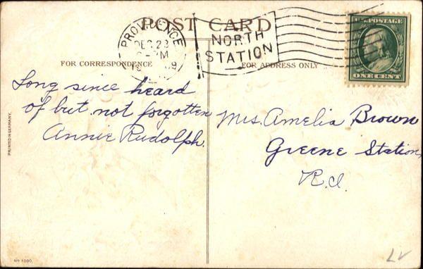 BACK of Christmas Greetings Postcard c 1909