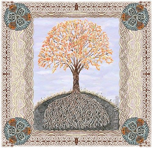 Autumn Tree of Life, Celtic Samhain Lughnasadh harvest cards (3 pack) by lisewinne