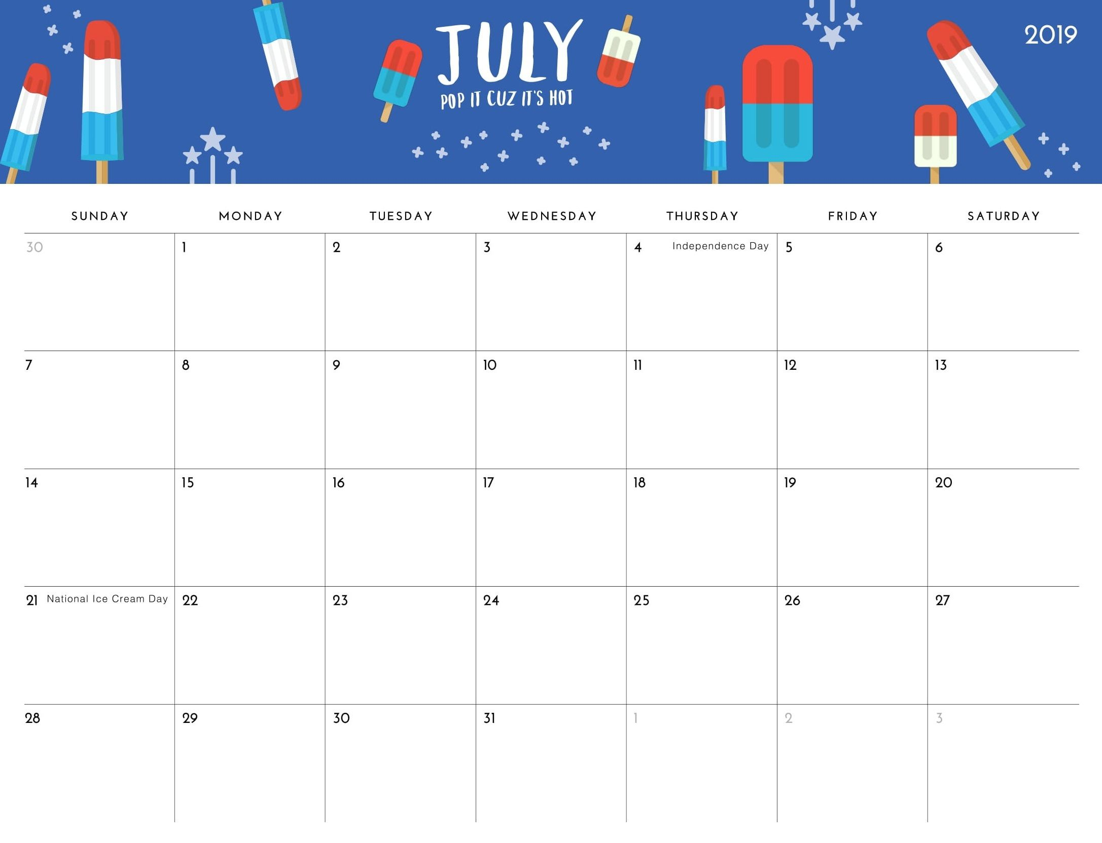 Floral Cute July Calendar 2019 Printable Blank Template With