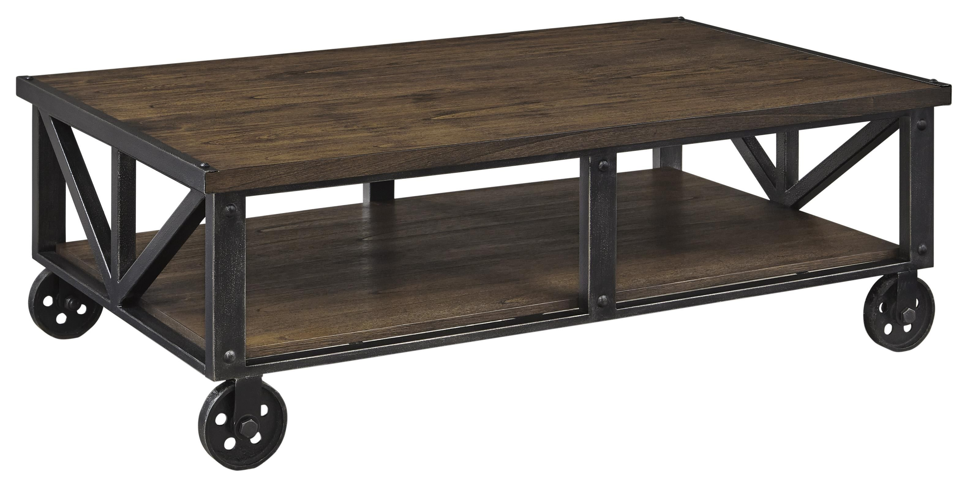 Zenfield Wood/Metal Rectangular Cocktail Table With Industrial Style Cart  Wheels By Ashley Signature Design