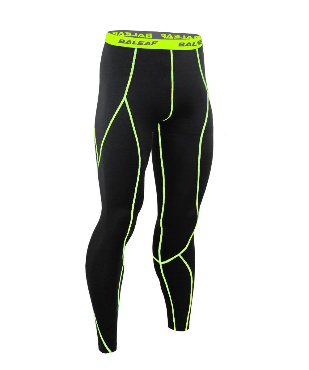 c38b10860697d Baleaf Men's Running Fitness Workout Compression Base Layer Tights Black  Fluorescent Yellow Size M. Stretchy
