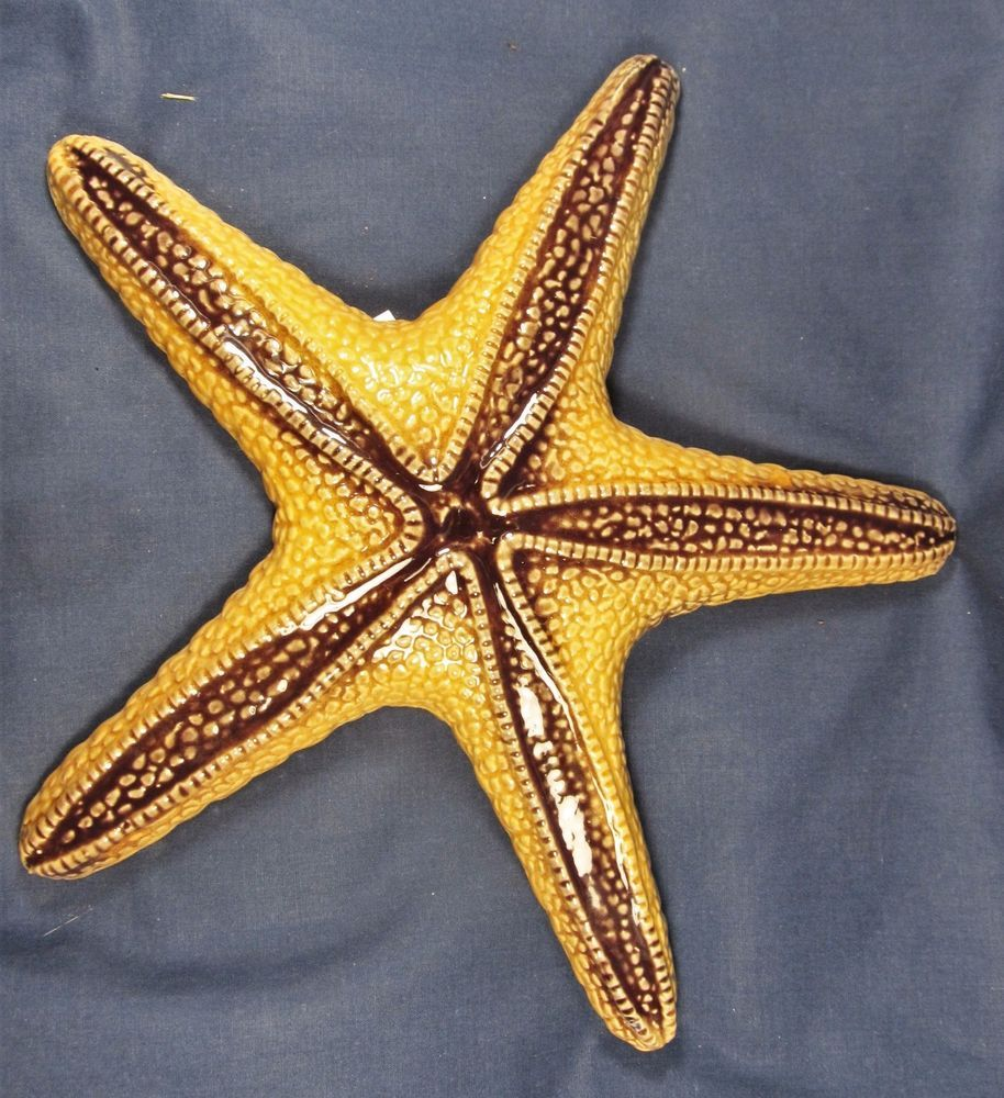 Starfish sea life ceramic nautical wall art Brn/Gold color home ...