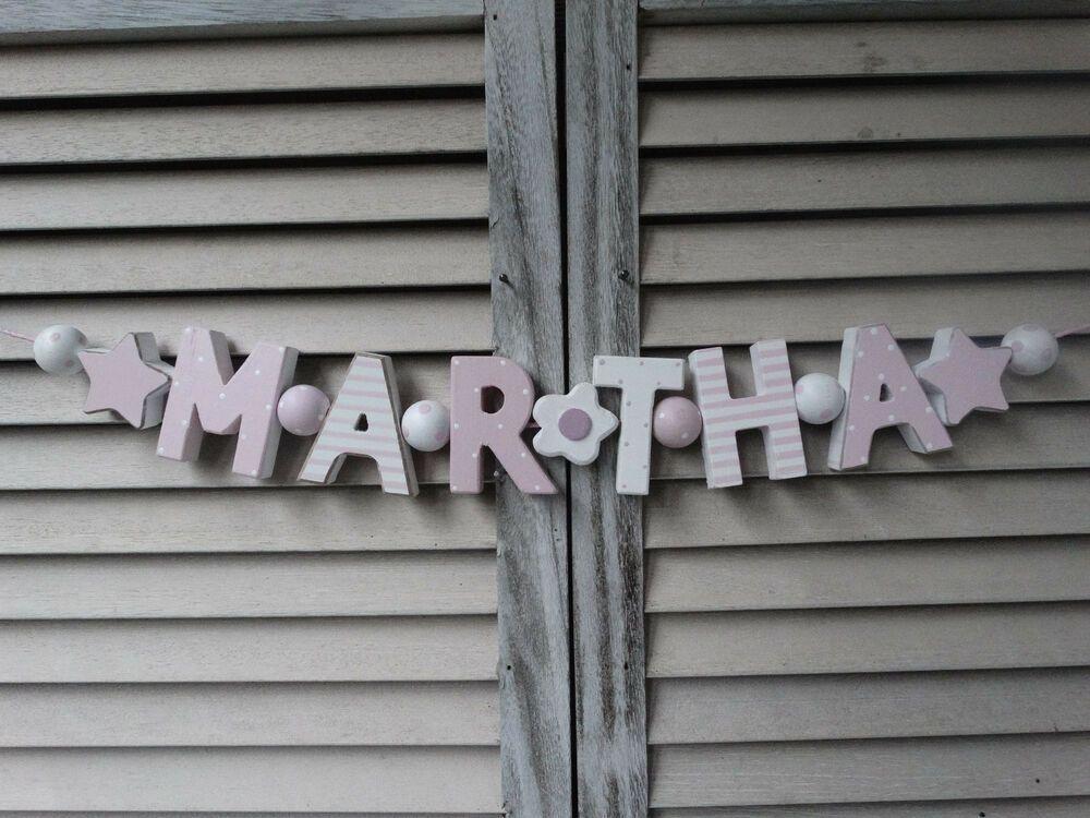 """Details zu """"MARTHA"""" NAMENSKETTE KINDERZIMMER TÜR ROSA"""