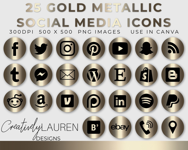 25 Social Media Icons Gold Metallic Social Media Icons Social Media Buttons Blog Icons Website Icons Instant Download Social Media Icons Social Media Icons Vector Media Icon