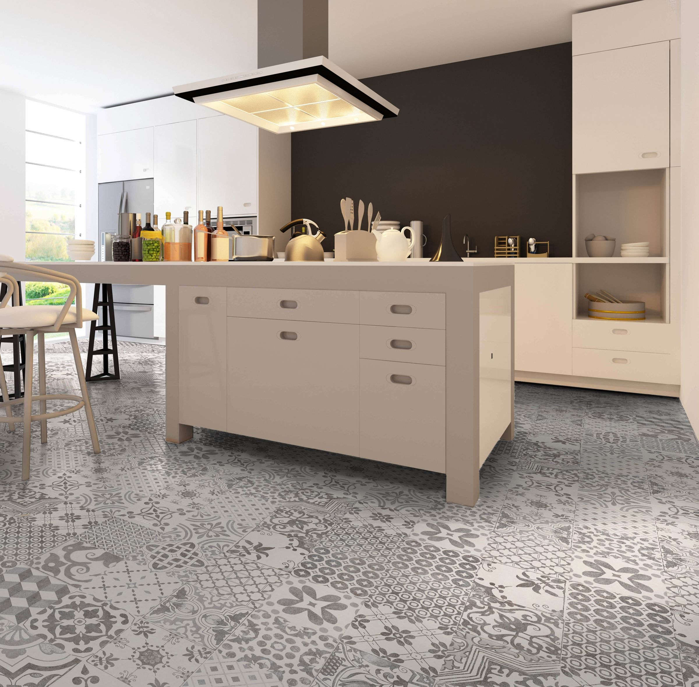 Bristol Is An Encaustic Look Vintage Wall And Floor Tile With A Random Pattern This Type Of Tile I Patchwork Tiles Kitchen Kitchen Flooring Kitchen Floor Tile