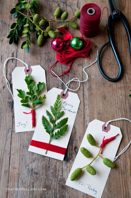 Homemade Gift tags with evergreens Christmas food * decorations