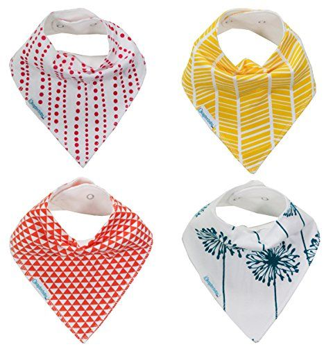 Kaydee Baby Girl Bandana Bibs with Adjustable Snaps - Set of 4 - Great for Drool Dribble and Teething for Infant and Toddler - Durable, SOFT, Absorbent Cotton Bib Gift Set