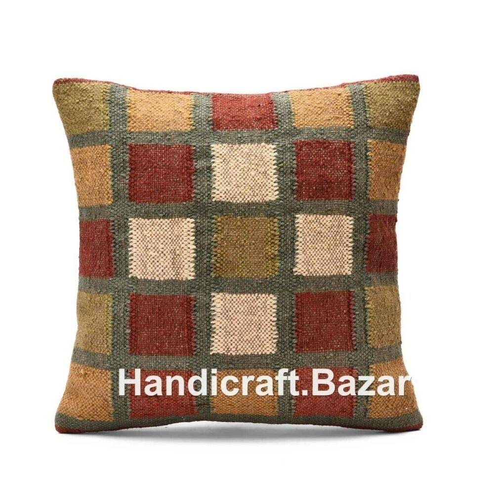 Details About 4pcs Throw Pillow Multi Color Body Case Killim Wool Jute Sofa Sham Cushion Cover Hand Woven Pillows Handwoven Kilim Kilim Cushions