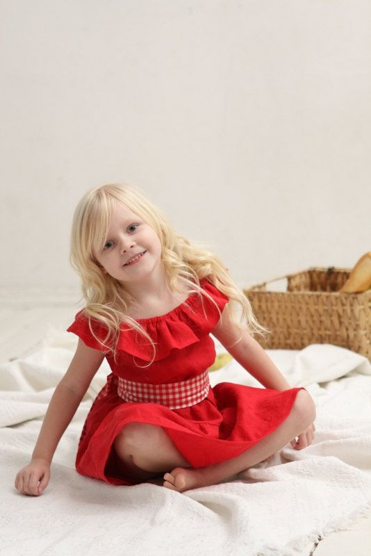 493bb1e98df4 Girls ruffle dress Red linen dress Toddler girls by mimiikids Wedding  Dresses For Girls