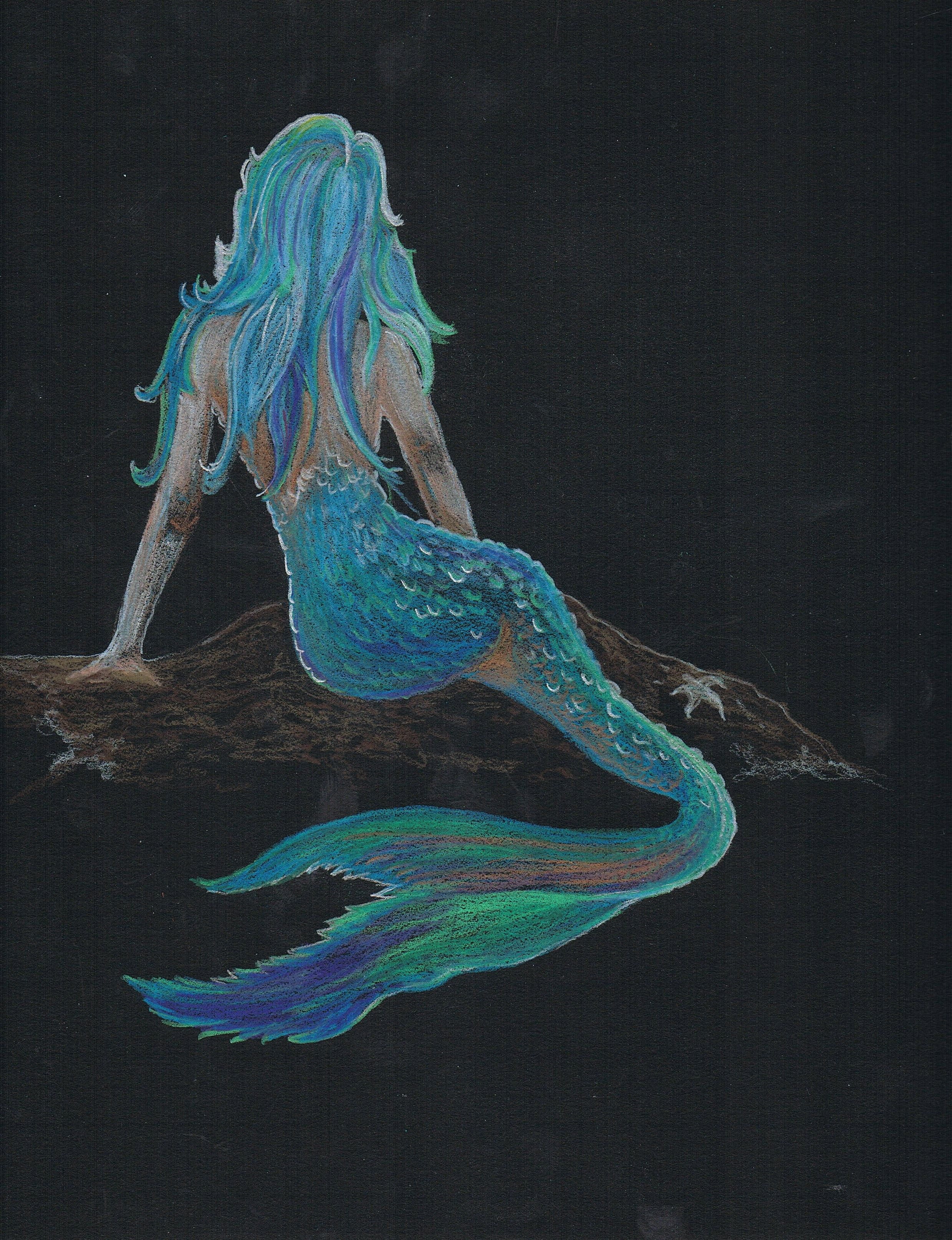 New drawing for etsy shop mermaid prismacolor pencil for Art sites like etsy