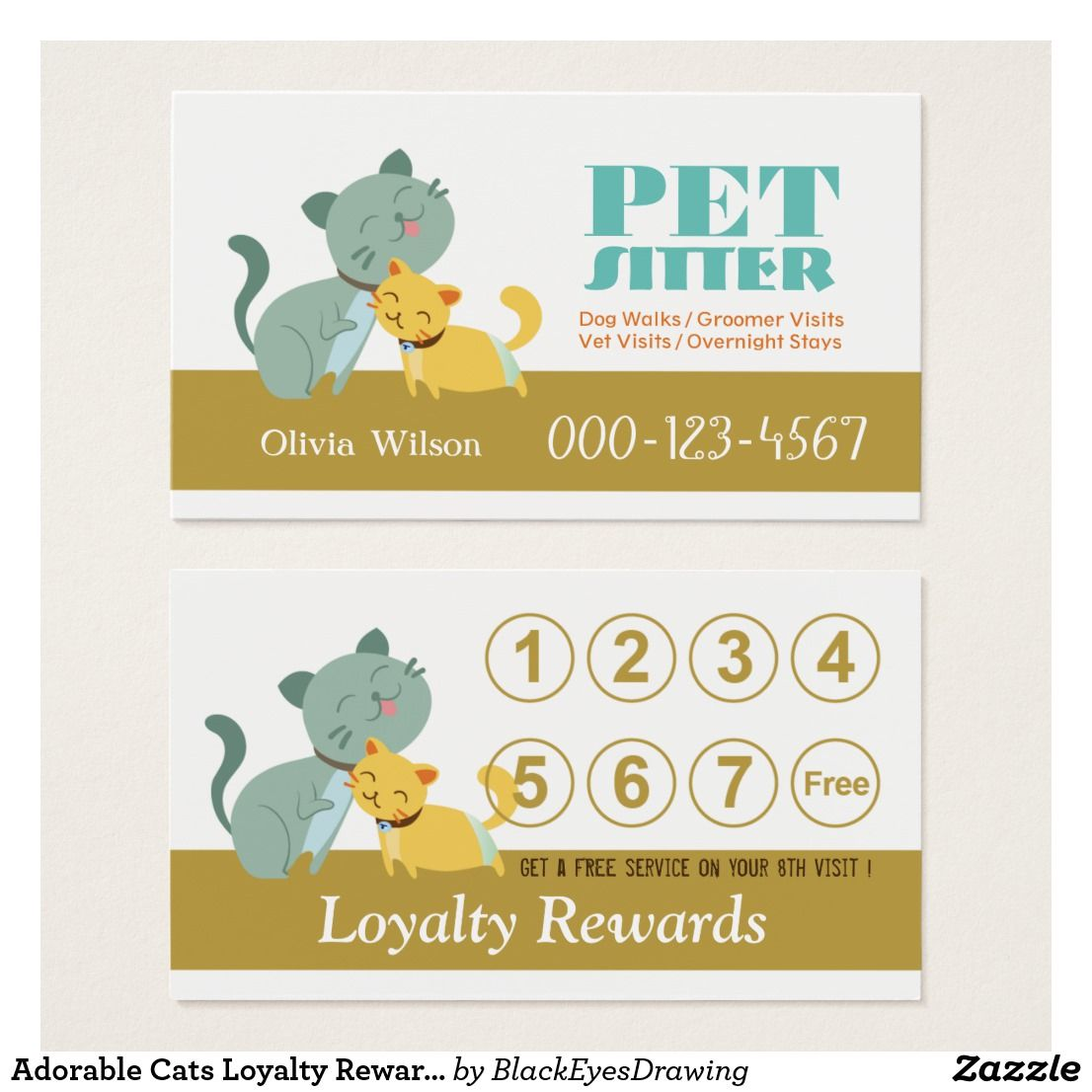 Adorable Cats Loyalty Rewards Pet Sitting Service Business Card ...