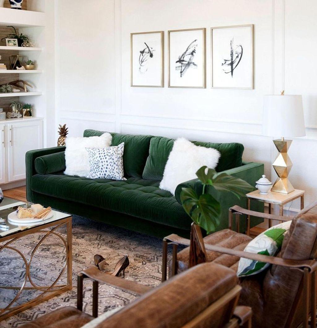 Nice 45 Outstanding Green Living Room Designs Ideas Salon Vert