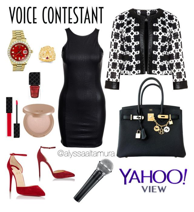 """""""Voice Contestant Look!"""" by alyssaaltamura ❤ liked on Polyvore featuring Tia, Hermès, Christian Louboutin, Rolex, Kevin Jewelers, Gucci, tarte, contest, thevoice and contestentry"""