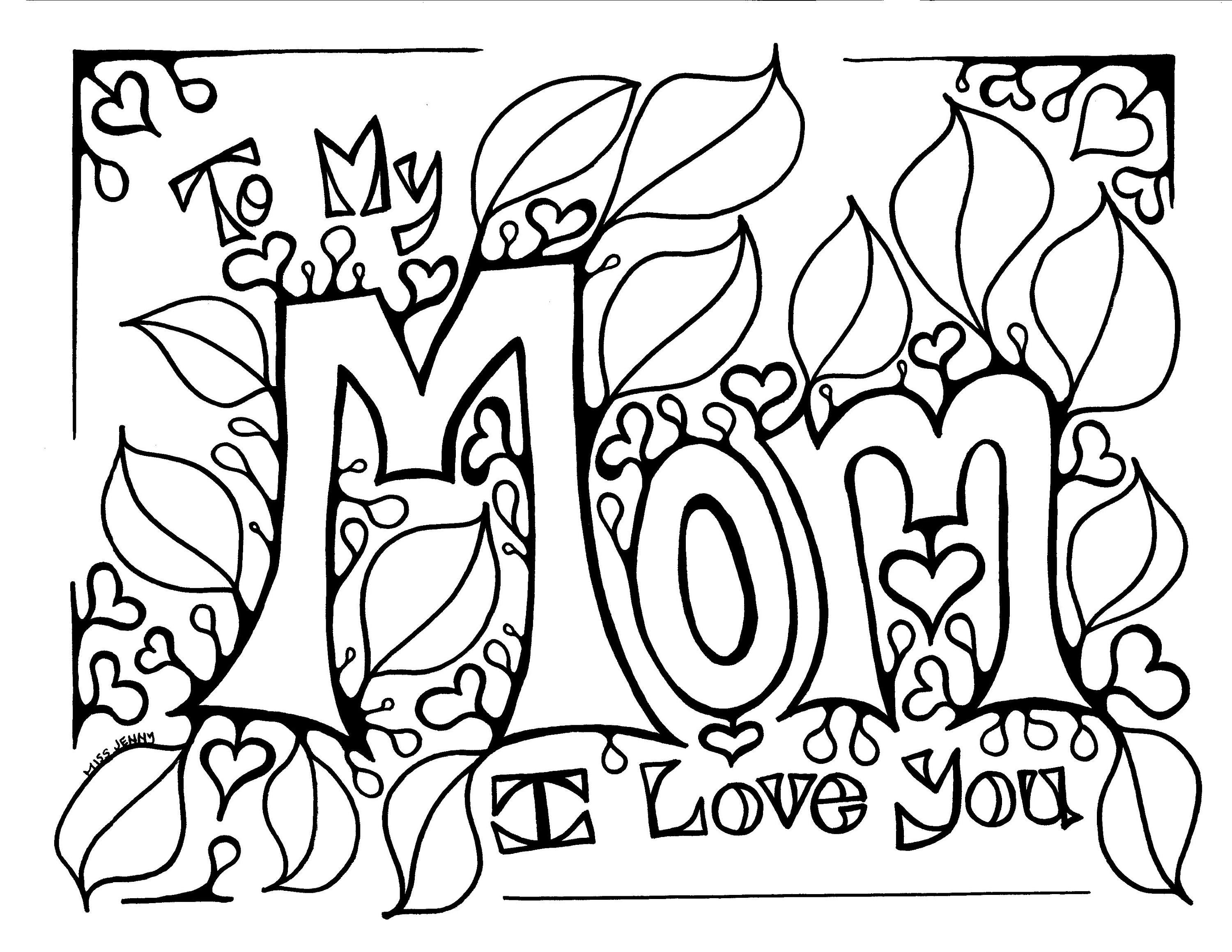 To My Mom I Love You Mother S Day Coloring Page By
