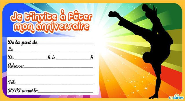 Extrem Invitation anniversaire Danseur Hip Hop | Carte d'invitation hip  CC95