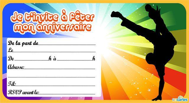 Invitation Anniversaire Danseur Hip Hop Invitation Anniversaire Carte Invitation Anniversaire Carte Invitation