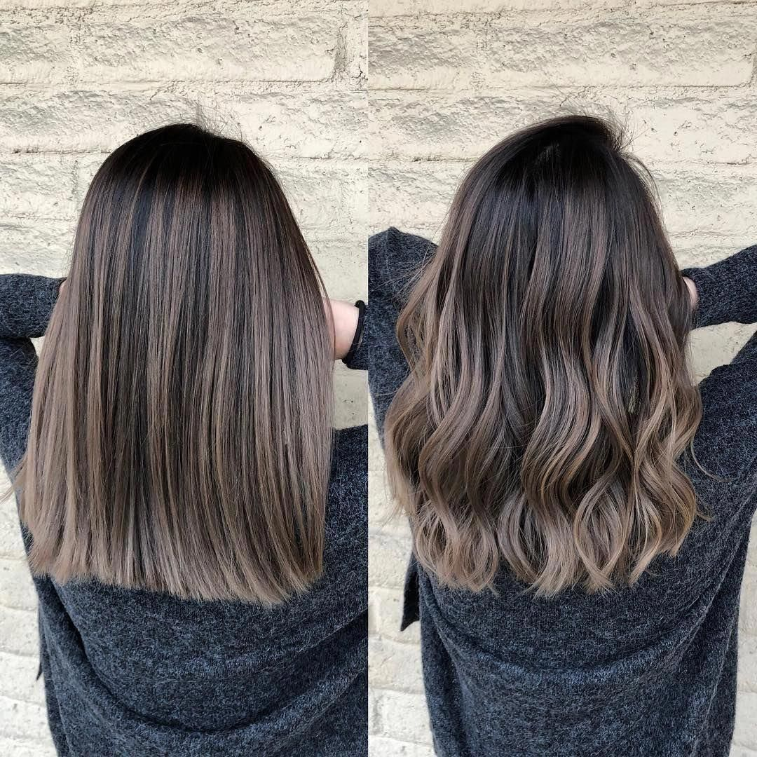 Brown Hair Balayage Los Angeles Hairstylist Color On Instagram Ash Brunette Wavy Vs Straight H In 2020 Balayage Straight Hair Brown Hair Balayage Brunette Hair Color