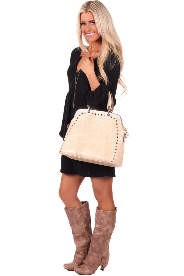 Lime Lush Boutique - Tan Studded Textured Faux Leather Handbag, $72.99 (http://www.limelush.com/tan-studded-textured-faux-leather-handbag/)