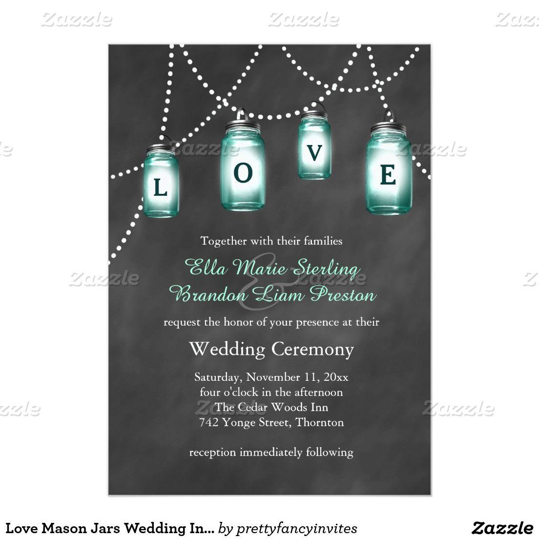 "Love Mason Jars Wedding Invitation 5"" X 7"" Invitation Card"
