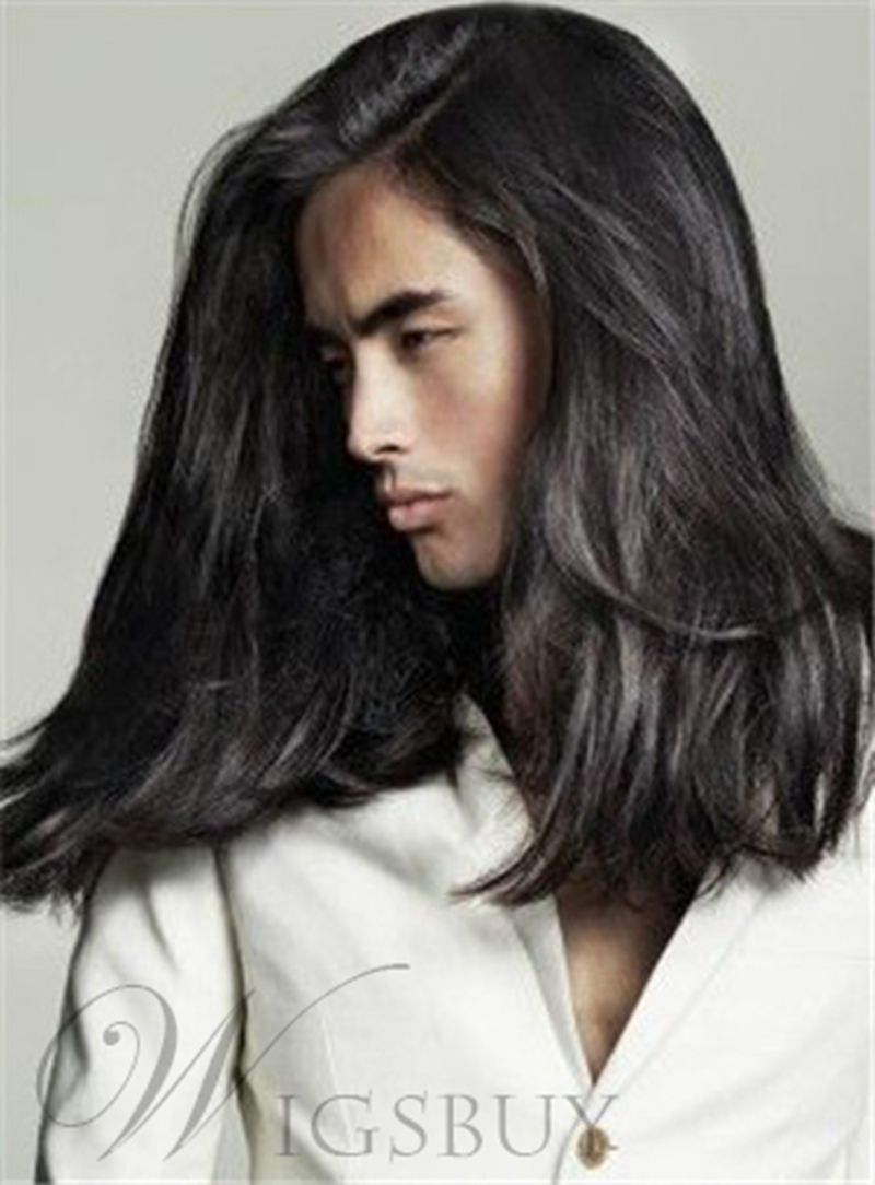Natural Straight 1b Monofilament Top Simple Medium Men S Hairstyle Straight Hairstyles Medium Length Hair Styles Curly Hair Styles