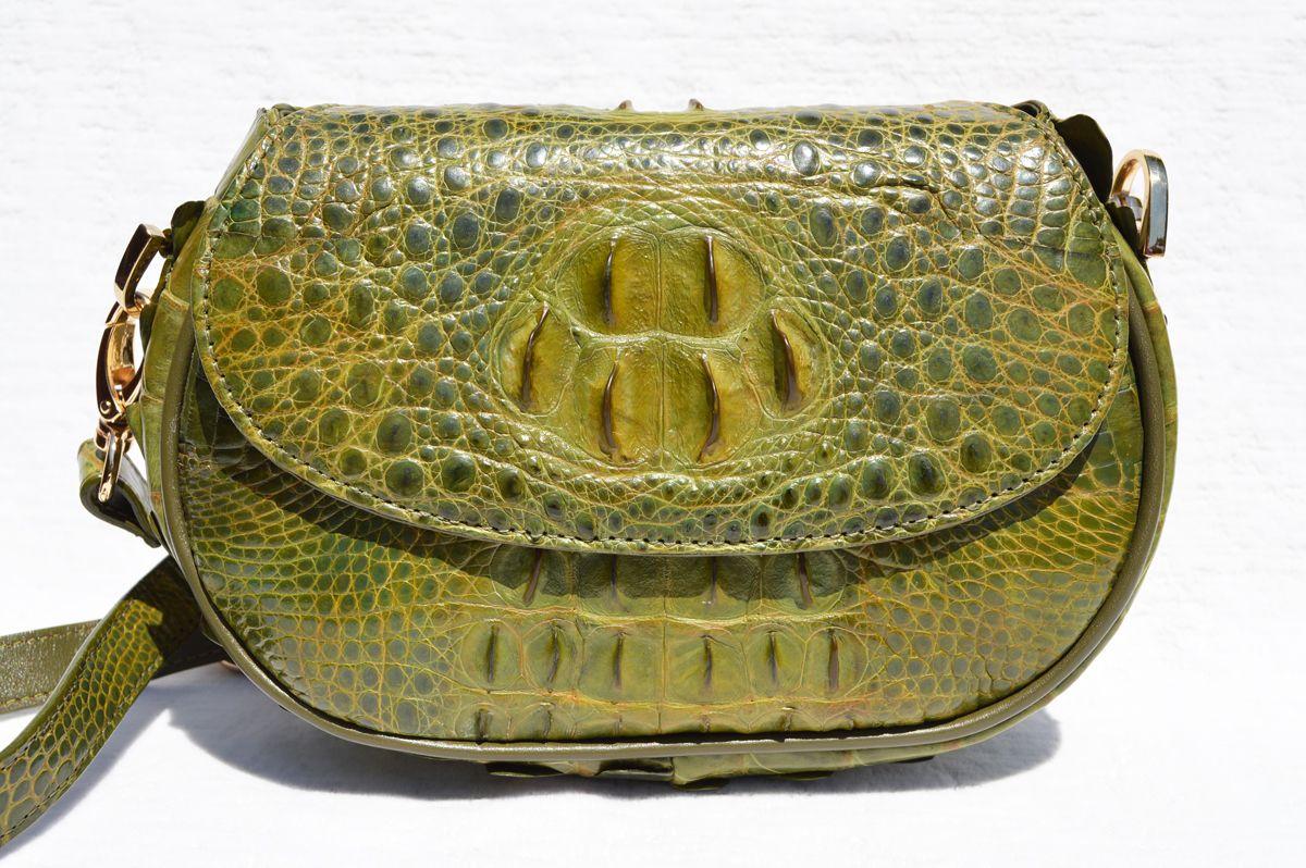 ff808d92627a OLIVE GREEN 1990 s-2000 s HORNBACK Crocodile Skin CLUTCH Cross Body Shoulder  Bag