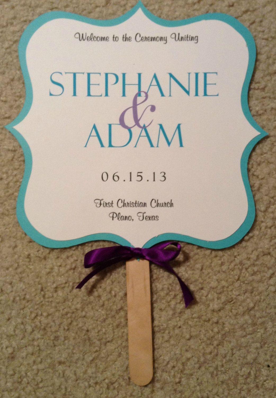 Two sided wedding fan program turquoise and purple rustic wedding
