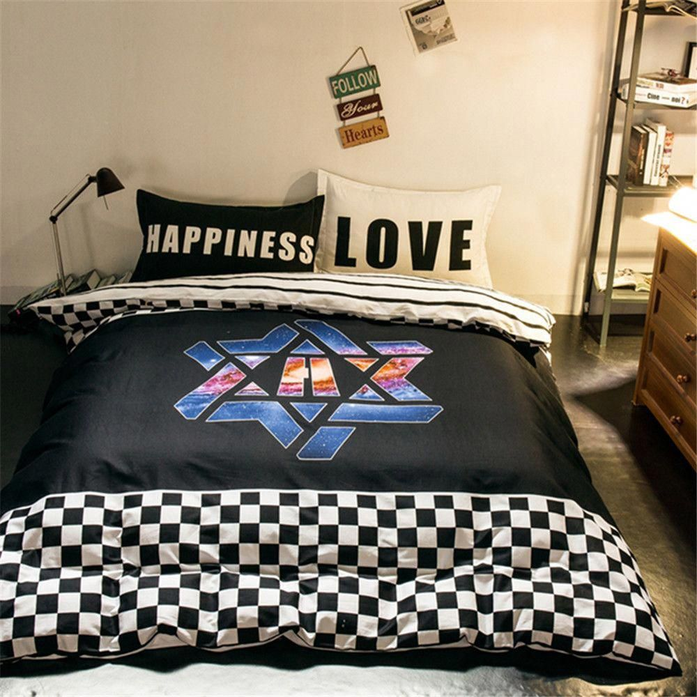 Modern Design Super Cool Bedding Sets Kids Boys White And Black Plaids Stripes Quilt Cover Bed Sheet Pillowcase Queen Full Price 42 Free
