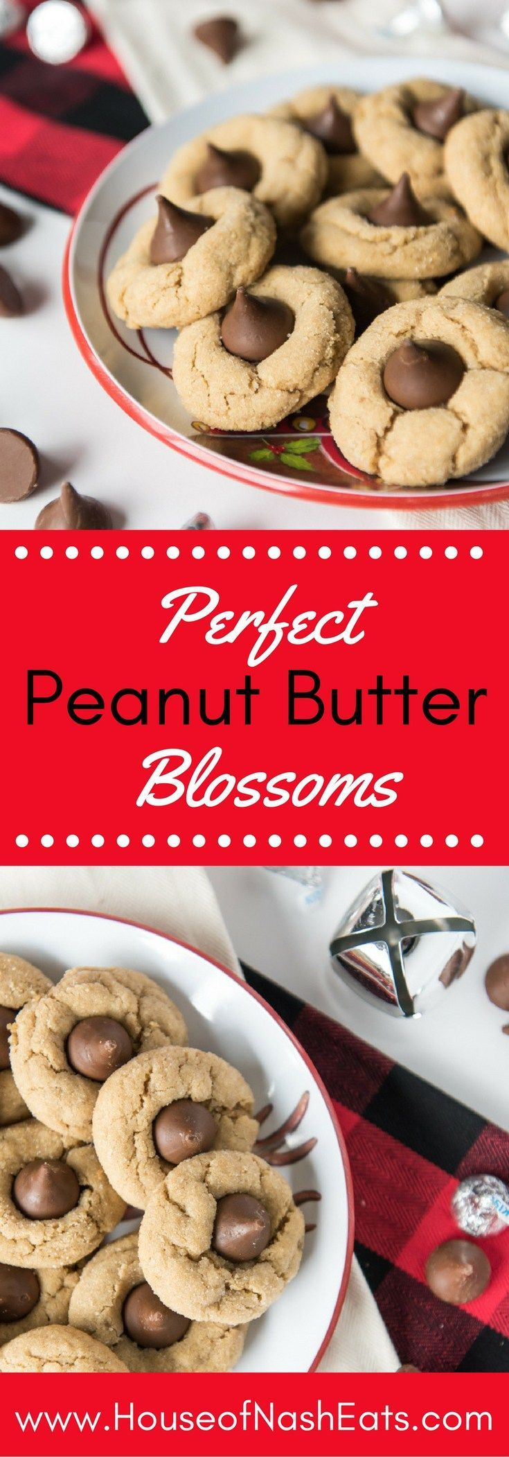 Peanut Butter Blossoms Simple, classic and iconic, these peanut butter blossoms are Christmas baking at it's best!   They are soft & chewy (and stay that way!), coated in crackly, sparkling sugar, and have a chocolate Hershey's Kiss in the center of each cookie.  They are one of our all-time favorite Christmas cookies!Simple English  Simple Eng...
