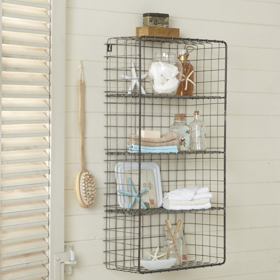 Decorations, Storage Furniture Bathroom Black Metal Wall Mount Shelf ...