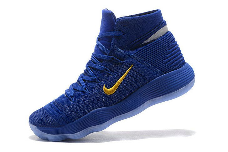 new style f4c52 aa919 ... ireland discount nike hyperdunk 2017 elite flyknit warriors away blue  yellow mens basketball shoes 2018 sale