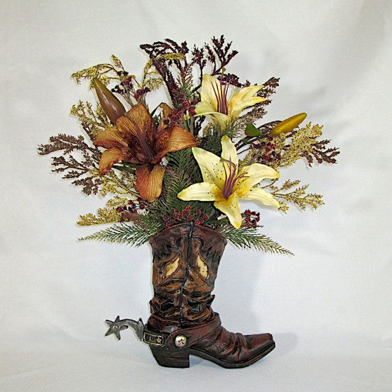 silk floral arrangement resin cowboy boot vase with brown and ivory lilies silk flower arrangement rustic home decor country home decor - Silk Arrangements For Home Decor