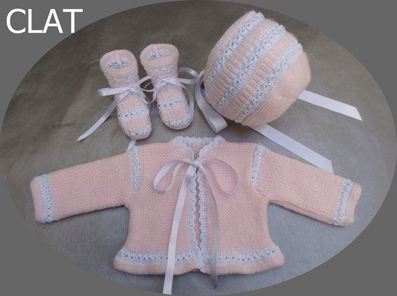 knitted baby set sweater bonnet and booties by Lanaterapia on Etsy