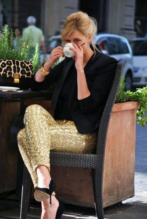 #lentejuelas #pantalon #dorado #outfit #casual