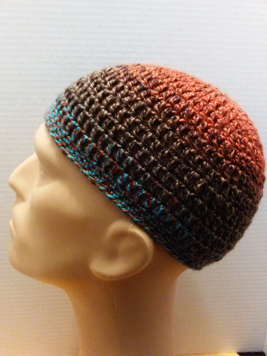 Turquoise, brown and orange kufi beanie skullcap crochet medium