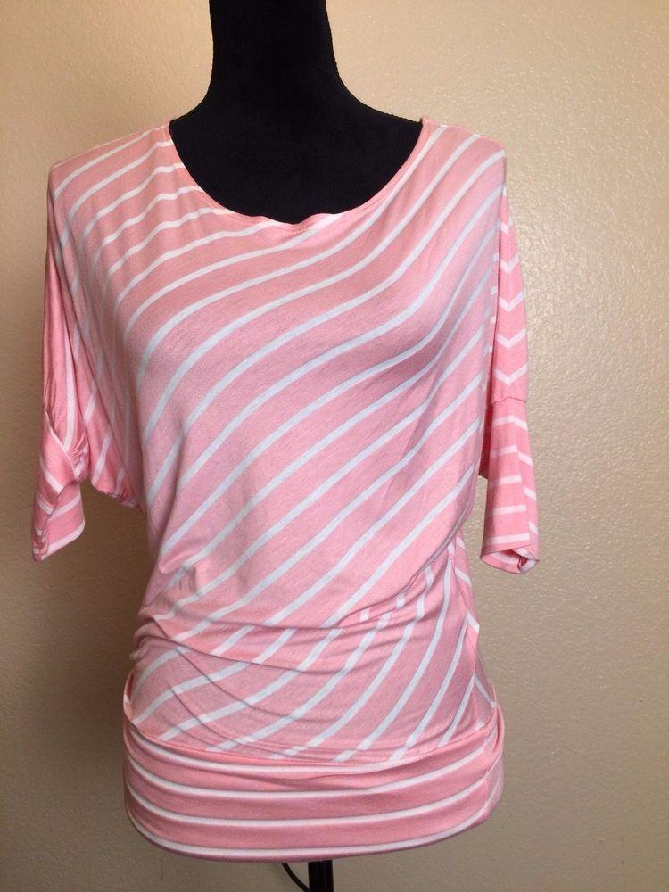 fb43113255090b Women Rhapsodielle Light Pink White Striped Flared Sleeve Shirt Top Light  Size S  Rhapsodielle  Top  Casual