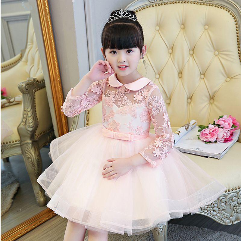 d69263577 Nuevos Niños Otoño Invierno Girls Birthday Party Manga Larga Vestido ...