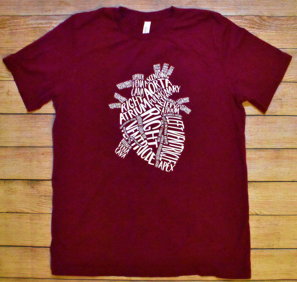 Heart Anatomy Shirt Or Tank Top Cardiac Nurse Shirt Nursing Etsy In 2020 Anatomy Shirts Nursing Shirts Custom T Shirt Printing