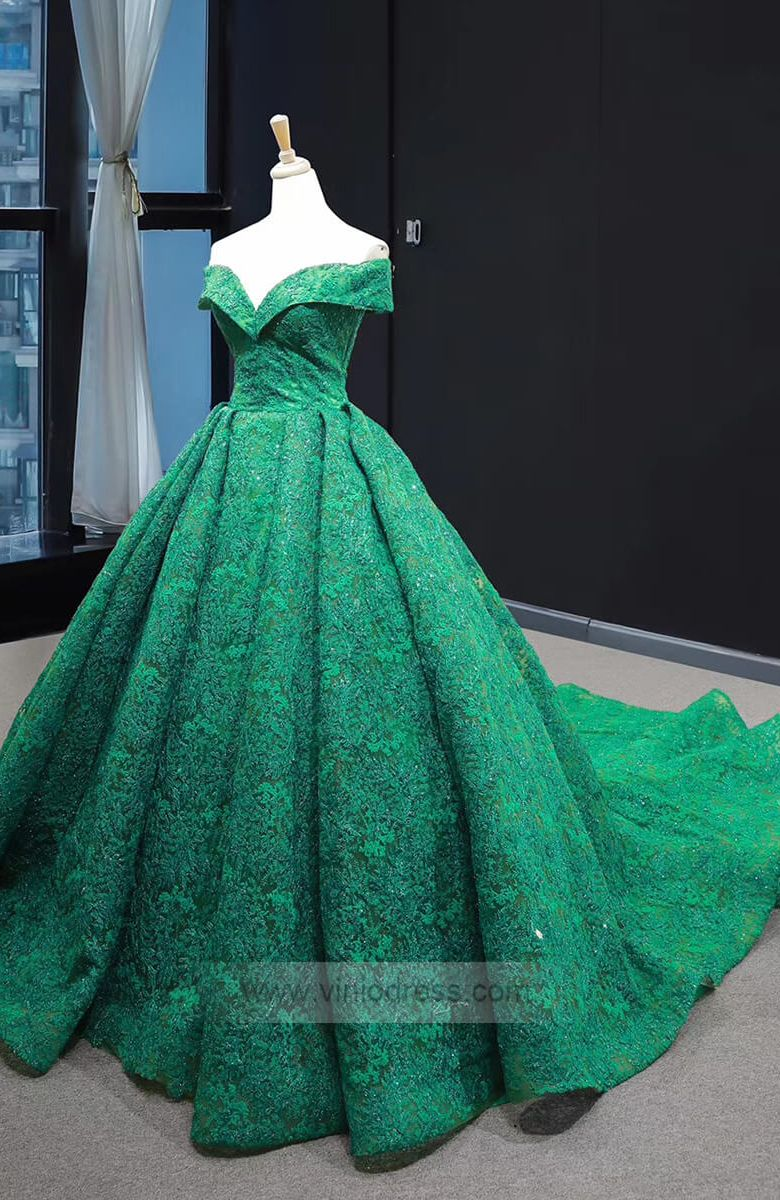 Emerald Green Lace Princess Prom Dresses Modest Ball Gowns Fd1302