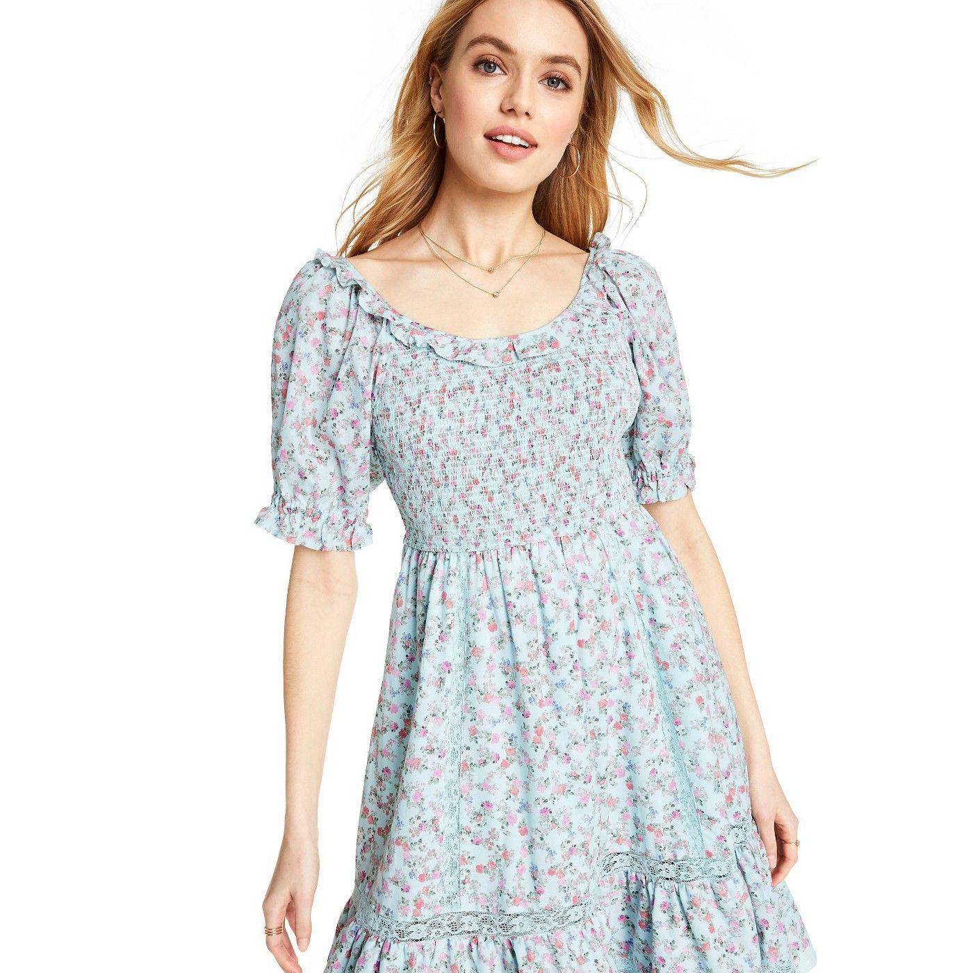 Women S Celeste Smocked Puff Sleeve Dress Loveshackfancy For Target Regular Plus Light Blue Puffed Sleeves Dress Dresses With Sleeves Puff Sleeve Dresses [ 1400 x 1400 Pixel ]
